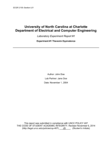 Example Lab Report – Electrical And Computer Engineering At Unc with Engineering Lab Report Template