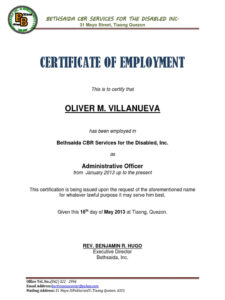 Example Of Certificate Of Employment Filename | Istudyathes within Template Of Certificate Of Employment
