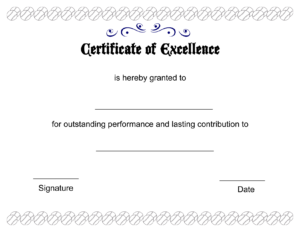Excellence-Certificate-Template-Blank regarding Academic Award Certificate Template