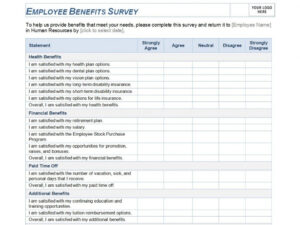 Exceptional Employee Satisfaction Surveys Templates Template regarding Employee Satisfaction Survey Template Word