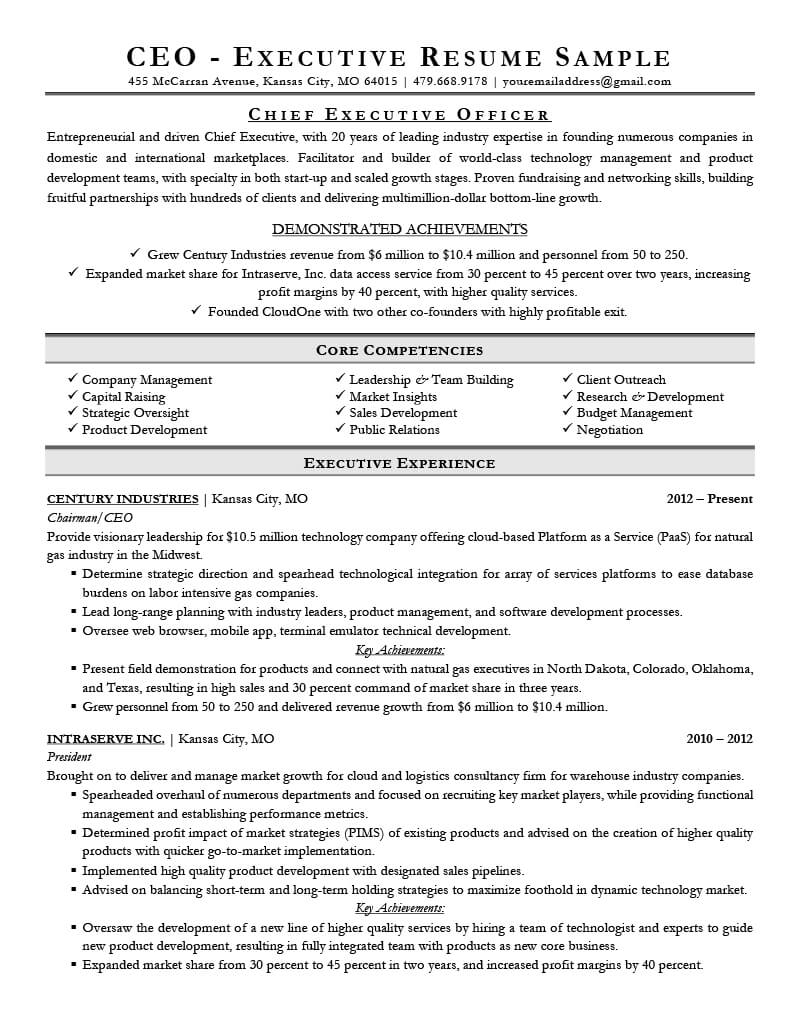 Executive Resume Examples & Writing Tips | Ceo, Cio, Cto Throughout Ceo Report To Board Of Directors Template
