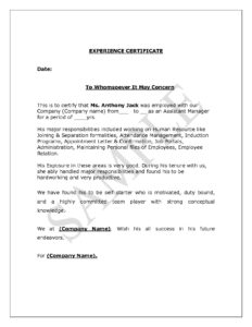 Experience Letter Format Supervisor Copy Experience intended for Certificate Of Experience Template