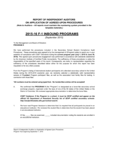 F-1 Compliance Audit Report for Agreed Upon Procedures Report Template