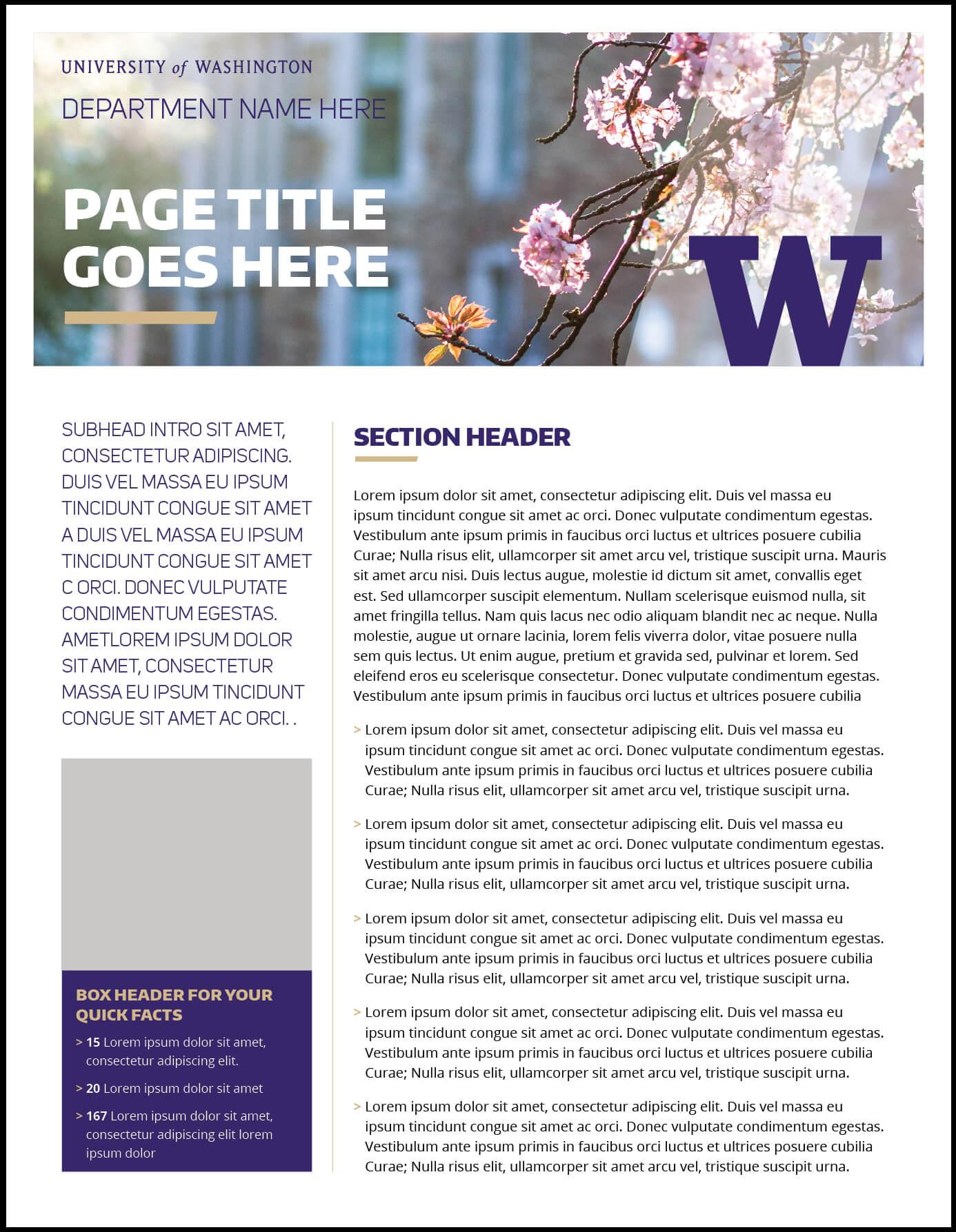 Fact Sheet | Uw Brand Pertaining To Fact Card Template