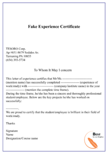 Fake Experience Certificate-01 | Best Letter Template regarding Certificate Of Experience Template