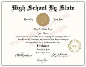 Fake High School State Design Diplomas – Select A State throughout Fake Diploma Certificate Template