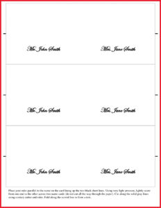 Fantastic Table Name Card Template Ideas Place Free Download throughout Place Card Size Template