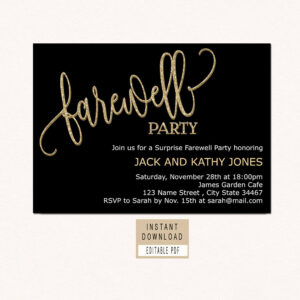 Farewell Invitation Download, Farewell Invitation Template, Black And Gold  Farewell Party Invitation, Farewell Invite Printable, Retirement with Farewell Certificate Template