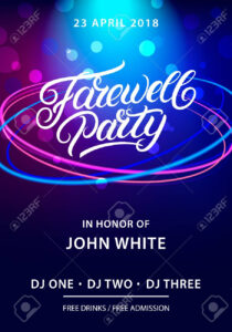 Farewell Party Hand Written Lettering. Invitation Card, Poster,.. for Farewell Invitation Card Template