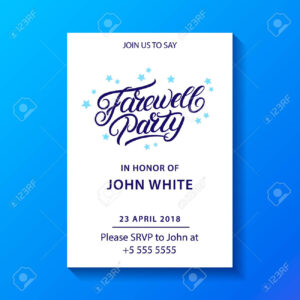 Farewell Party Hand Written Lettering. Invitation Card, Poster,.. with regard to Farewell Invitation Card Template
