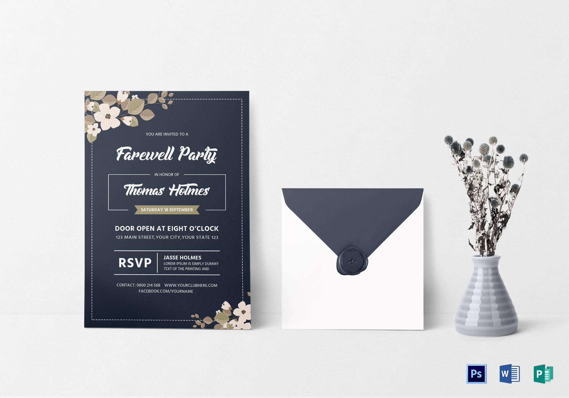 Farewell Party Invitation Card Template Regarding Farewell Card Template Word