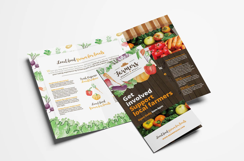 Farmers Market Tri Fold Brochure Template In Psd, Ai Throughout Nutrition Brochure Template