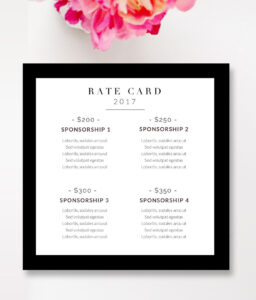 Fashion & Beauty Blogger Rate Card Template | Blog | Graphic throughout Advertising Rate Card Template