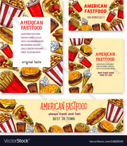 Fast Food American Restaurant Banner Template Set within Food Banner Template