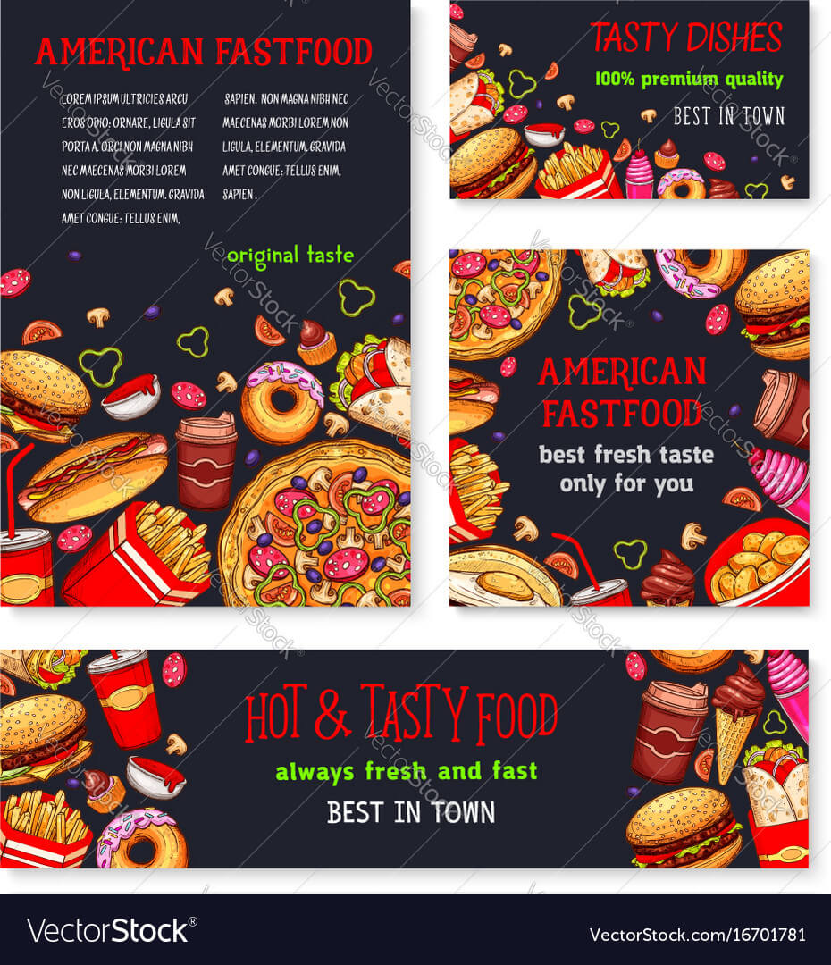 Fast Food Meal For Restaurant Banner Template Inside Food Banner Template