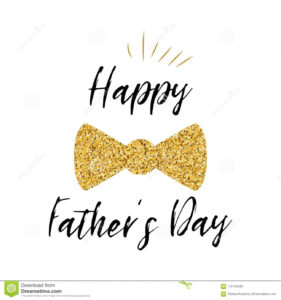Fathers Day Banner Design With Lettering, Golden Bow Tie Within Tie Banner Template