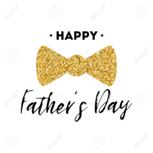 Fathers Day Card Design With Lettering, Golden Bow Tie Butterfly with Fathers Day Card Template