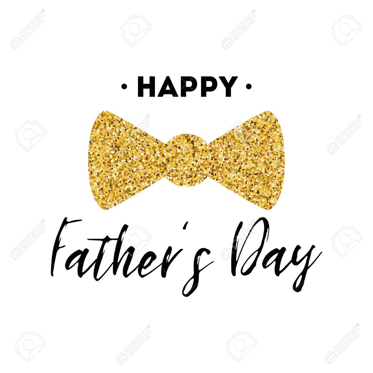 Fathers Day Card Design With Lettering, Golden Bow Tie Butterfly With Regard To Tie Banner Template