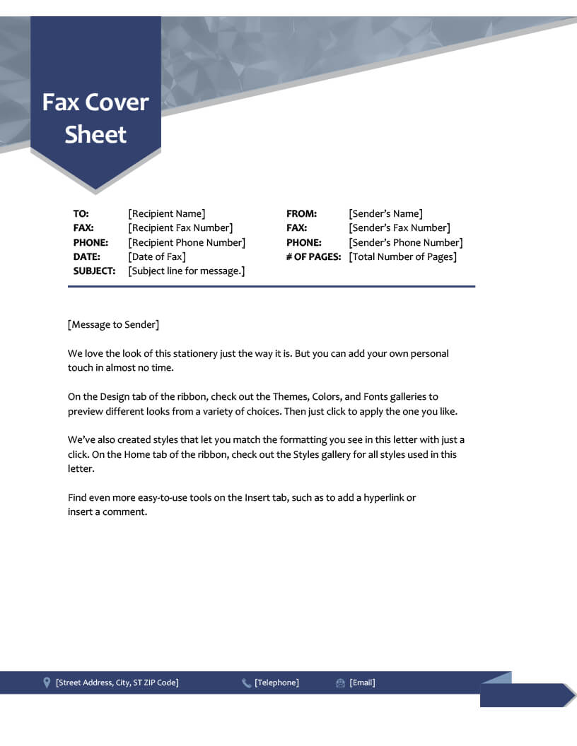 Fax Covers - Office Regarding Fax Cover Sheet Template Word 2010
