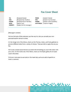 Fax Covers – Office within Fax Template Word 2010