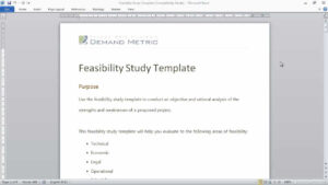Feasibility Study Template Within Technical Feasibility Report Template