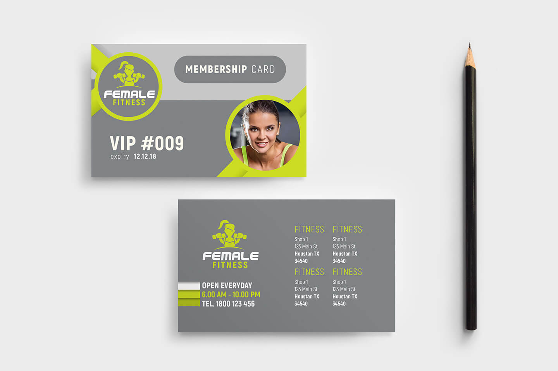 Female Fitness Membership Card Template In Psd, Ai & Vector Intended For Gym Membership Card Template