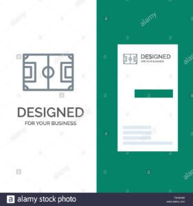 Field, Football, Game, Pitch, Soccer Grey Logo Design And inside Football Referee Game Card Template