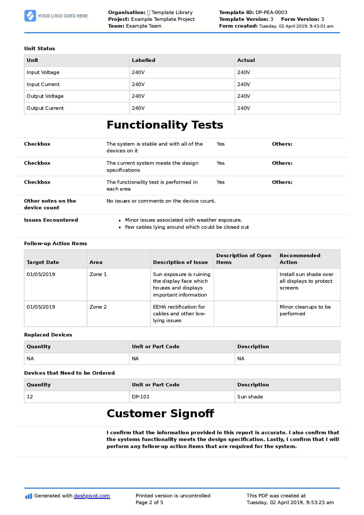 Field Service Report Template (Better Format Than Word For Field Report Template