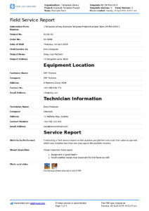 Field Service Report Template (Better Format Than Word throughout Report Content Page Template
