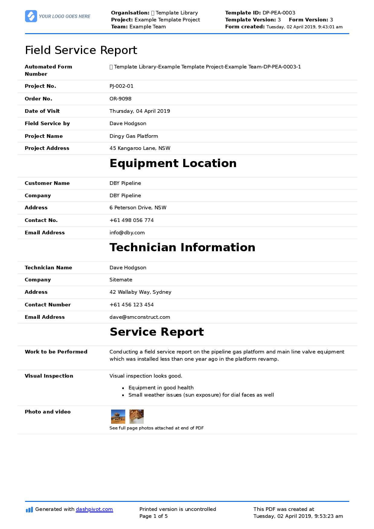Field Service Report Template (Better Format Than Word With Regard To Technical Service Report Template
