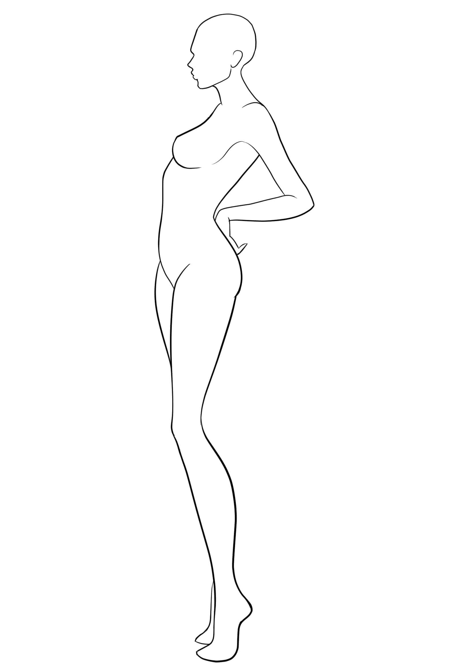 Figure Template 38 | Figure Drawing | Fashion Figure In Blank Model Sketch Template