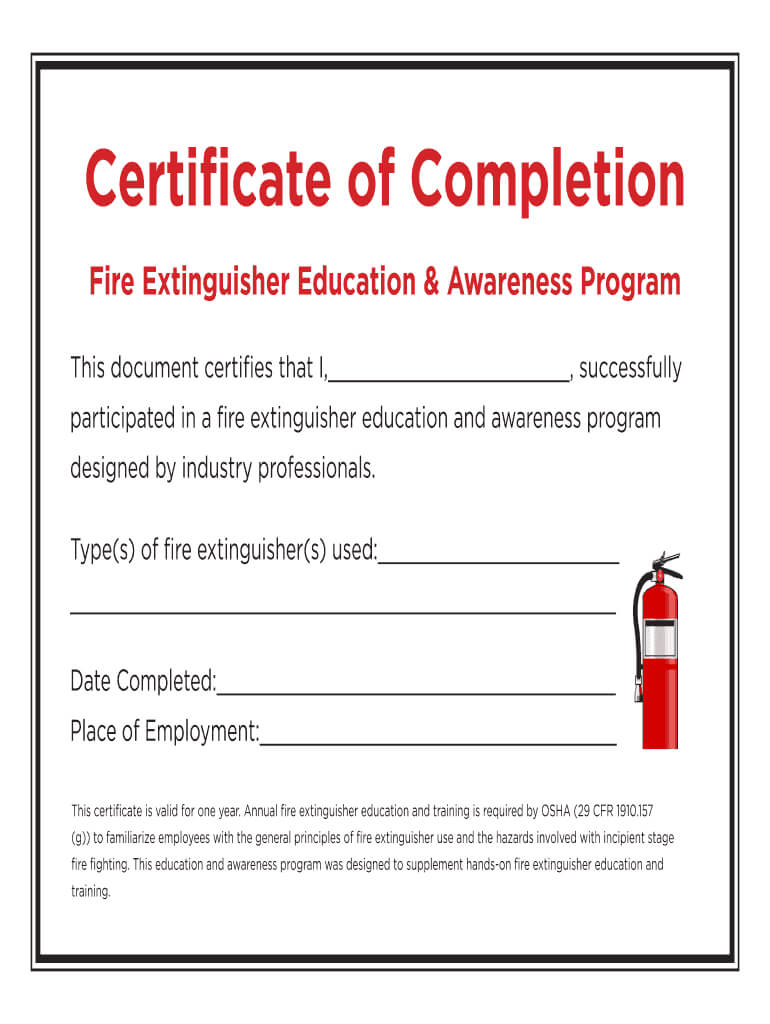 Fillable Online Certificate Of Completion - Fire With Fire Extinguisher Certificate Template