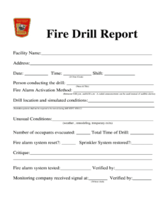 Fire Drill Report Template – Fill Online, Printable throughout Fire Evacuation Drill Report Template