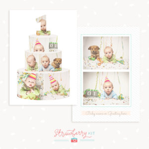 First Birthday Card Template – Strawberry Kit with Birthday Card Collage Template