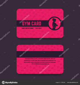 Fitness Club, Gym Card Template, Vector — Stock Vector in Gym Membership Card Template