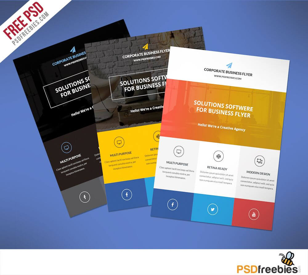 Flat Clean Corporate Business Flyer Free Psd | Psd Print For Cleaning Brochure Templates Free