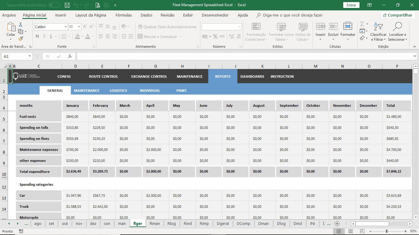 Fleet Management Spreadsheet Excel Throughout Fleet Management Report Template