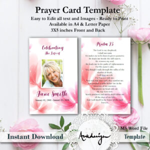 Floral Funeral Prayer Card Template, Word Funeral Prayer Printable Funeral  Card, Memorial Template, Prayer Template, Funeral Memorial Card pertaining to Memorial Card Template Word