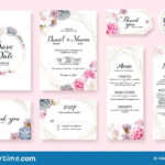 Floral Wedding Invitation Card, Save The Date, Thank You With Regard To Table Reservation Card Template