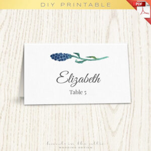 Floral Wedding Placecard Template, Printable Escort Cards within Printable Escort Cards Template