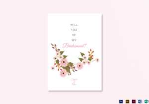 Floral Will You Be My Bridesmaid Card Template inside Will You Be My Bridesmaid Card Template