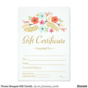 Flower Bouquet Gift Certificate | Zazzle | Buss | Gift in Massage Gift Certificate Template Free Printable