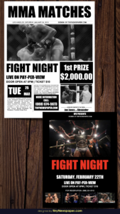 Flyer Mma Boxing Showdown Old Newspaper Template Google Docs intended for Old Newspaper Template Word Free