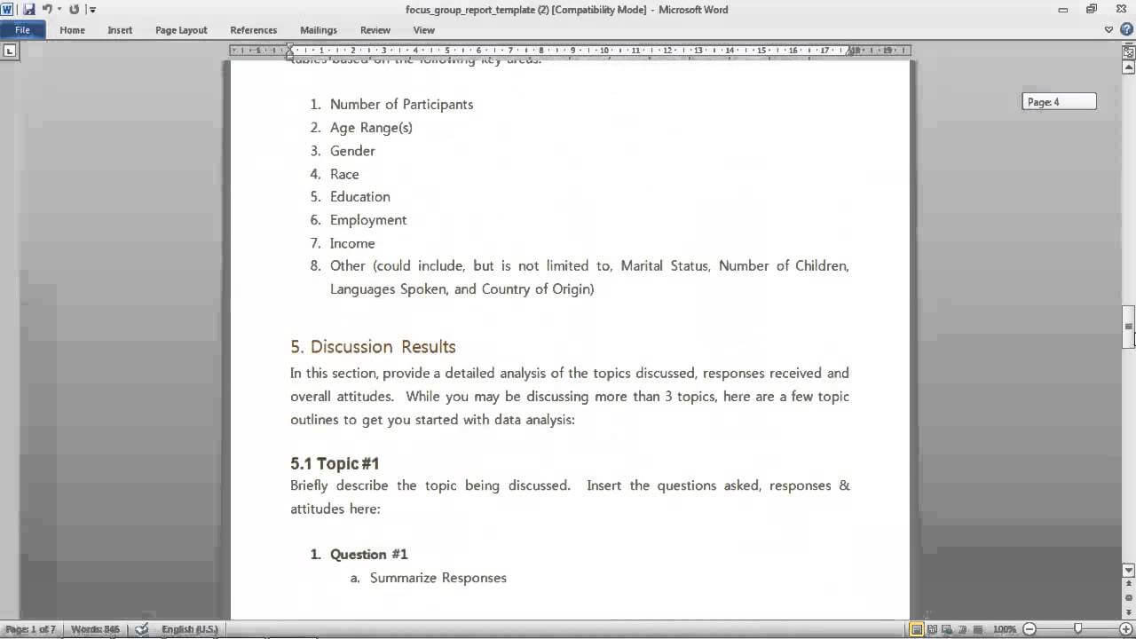 Focus Group Report Template Regarding Focus Group Discussion Report Template