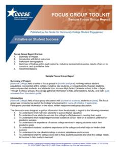 Focus Group Toolkit Sample Focus Group Report Regarding Focus Group Discussion Report Template