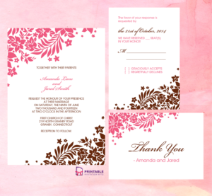 Foliage Borders Invitation, Rsvp And Thank You Cards intended for Free Printable Wedding Rsvp Card Templates