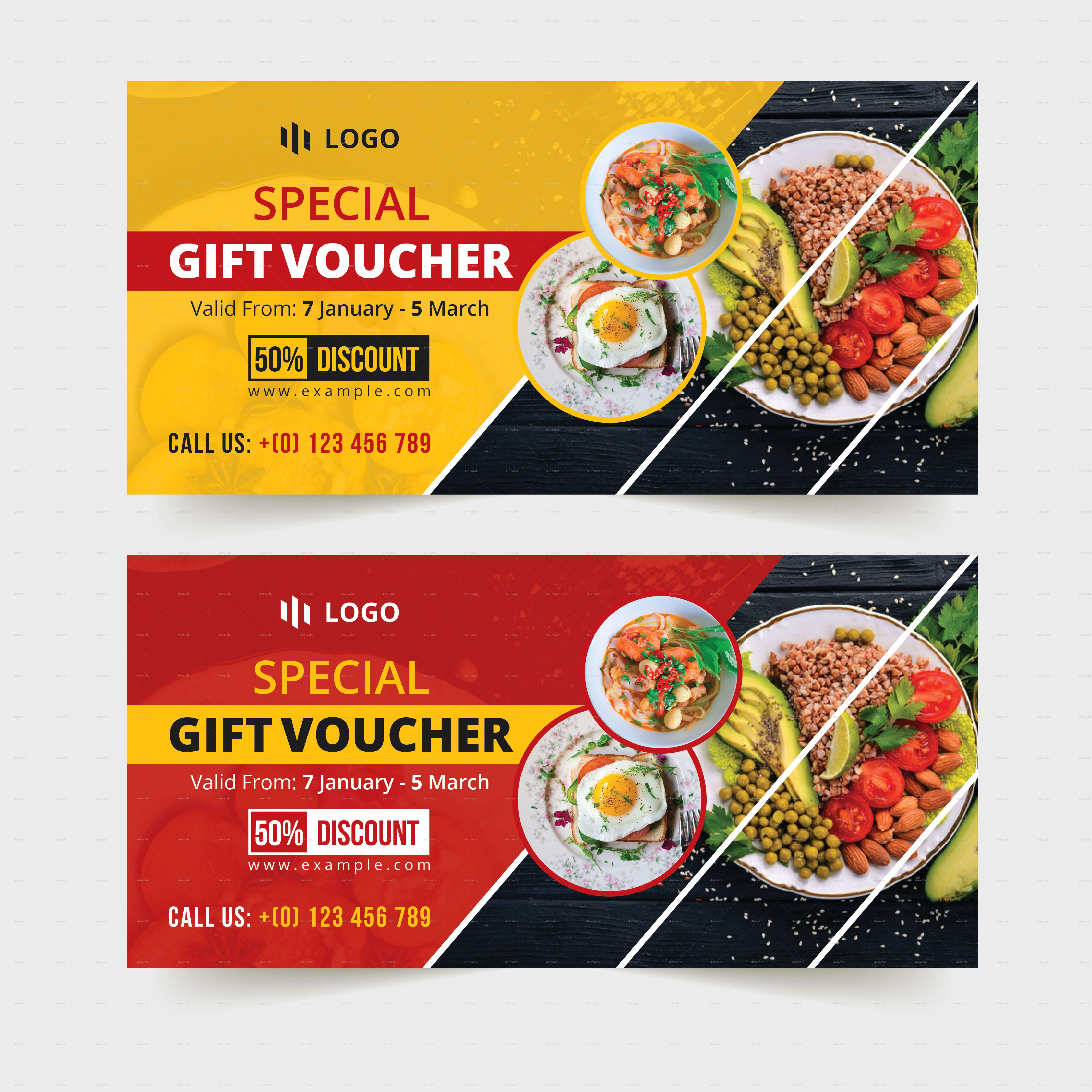 Food Restaurant Gift Voucher Template #restaurant, #food For Pizza Gift Certificate Template