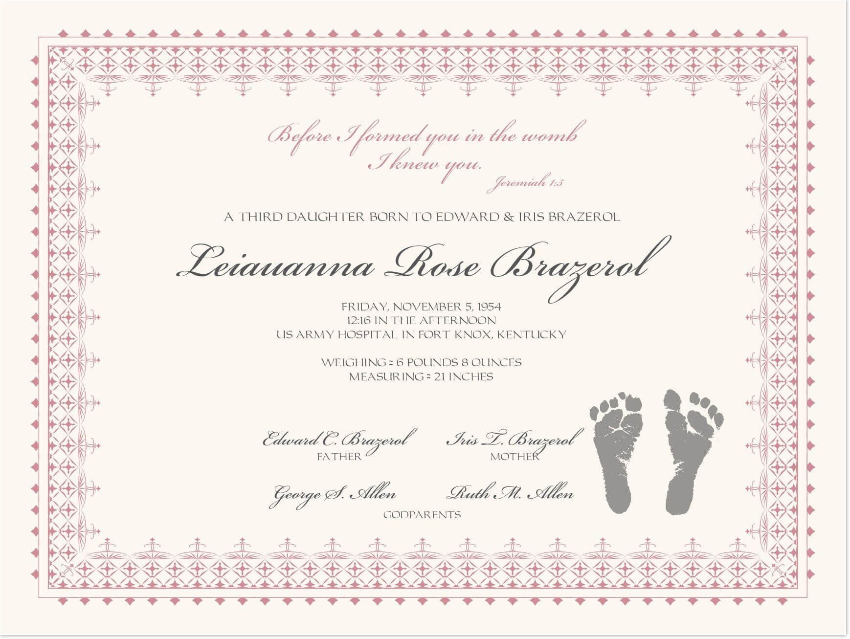 Footprints Baby Certificates | Baby | Baby Dedication With Regard To Baby Death Certificate Template