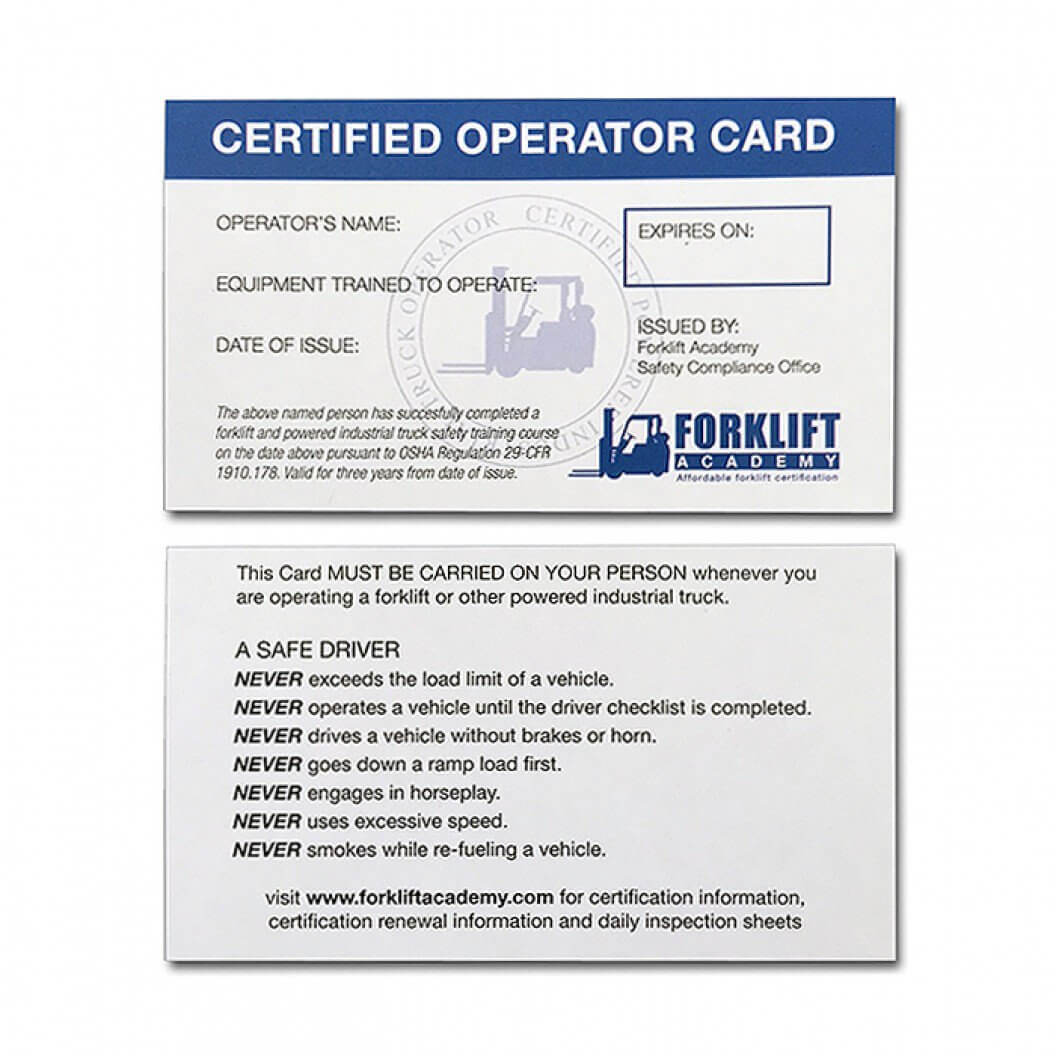 Forklift Certification Cards With Regard To Forklift Certification Card Template