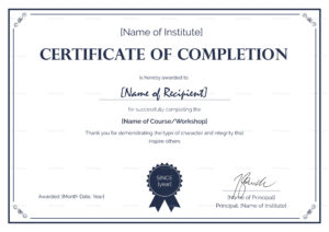 Formal Completion Certificate Template within Certification Of Completion Template